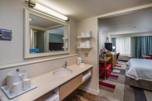A bathroom at Hampton Inn San Francisco Airport