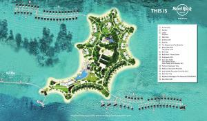 A bird's-eye view of Hard Rock Hotel Maldives