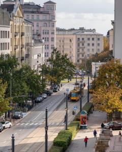 Widok na miasto Warszawa z tego apartamentu
