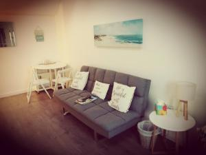 A seating area at Sma Harbour Hoose