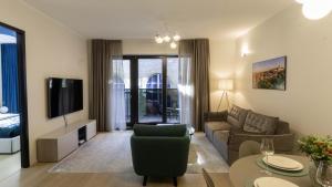 Istumisnurk majutusasutuses Rotermanni Premium Apartment