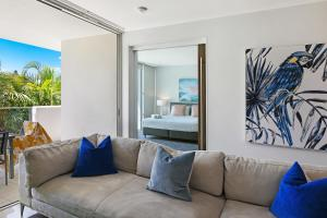 A seating area at Element on Coolum Beach