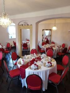 Ein Restaurant oder anderes Speiselokal in der Unterkunft HERRENHAUS KUNZWERDA bei TORGAU - ApartHotel, BoardingHouse, WOHNEN auf ZEIT