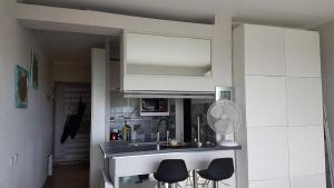 A kitchen or kitchenette at Lovely apartment in Marina Baie des Anges- Baronnet - Sew view, free parking spaces on site, restaurants, beach, supermarket