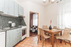 Kuchyň nebo kuchyňský kout v ubytování Hostel u Arény