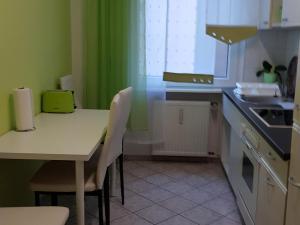 A kitchen or kitchenette at Große Ferienwohnung an der Rheinpromenade three