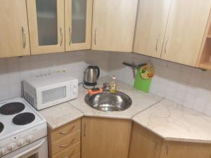 A kitchen or kitchenette at Apartment for Family and Friends in the Center of Novosibirsk