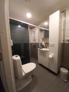A bathroom at Gasthaus Patruuna