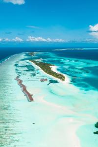 A bird's-eye view of LUX* South Ari Atoll Resort & Villas