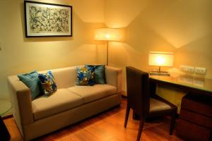 A seating area at 76 Friends Colony