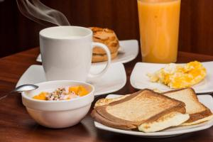 Breakfast options available to guests at Hostal La Rosa Otavalo