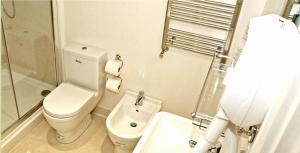 A bathroom at Oxbridge Apartments