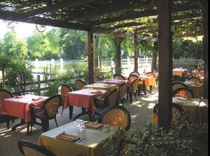 A restaurant or other place to eat at Au Bord du Lac