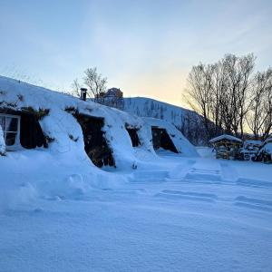 Turf house & Arctic Dome during the winter