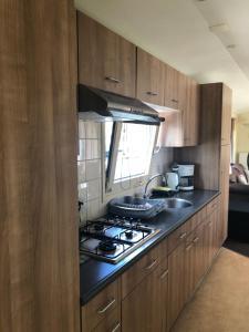 A kitchen or kitchenette at VVP Verhuur Woonboot Vinkeveense Plassen