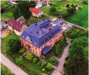 Widok z lotu ptaka na obiekt Pałac Książęcy we Wleniu