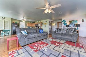 A seating area at Surfside Beach Home with Large Deck, 1 Block to Beach