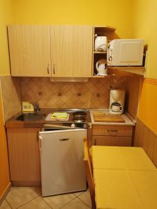 A kitchen or kitchenette at Gizella Apartmanhaus