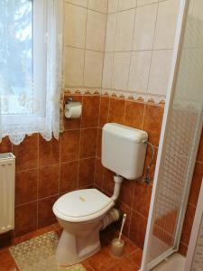 A bathroom at Gizella Apartmanhaus