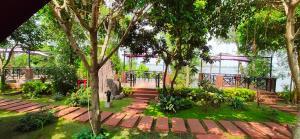 A garden outside Con Khuong Resort Can Tho