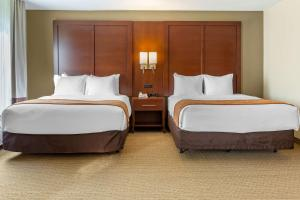 A bed or beds in a room at Comfort Suites Amish Country