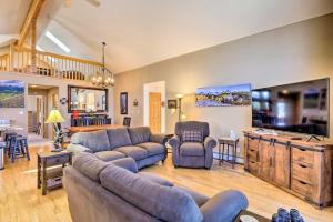 A seating area at Secluded Fairplay Home with Deck, Grill and View!
