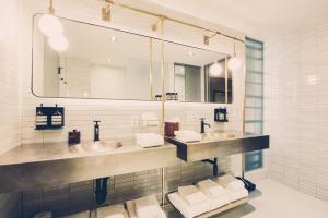 A bathroom at South Congress Hotel