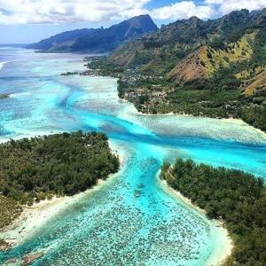 Uma vista aérea de Beach de rêves de Moorea