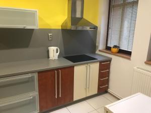 Kuchyňa alebo kuchynka v ubytovaní apartmán jeruzalemská