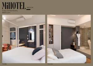 A bed or beds in a room at MiHotel Bizolon