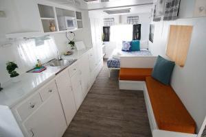 A kitchen or kitchenette at Mornington Peninsula Retro Caravans