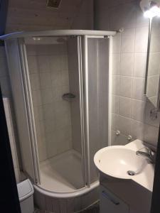 A bathroom at Ferienhaus im Seepark Kirchheim