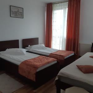 Un pat sau paturi într-o cameră la Pensiunea Octogon