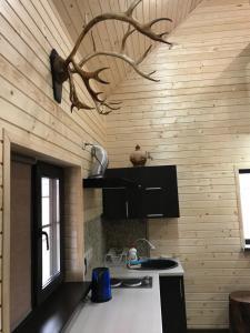 A kitchen or kitchenette at гостевой дом казачий