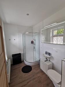 Ein Badezimmer in der Unterkunft Pension Am Steinbruch