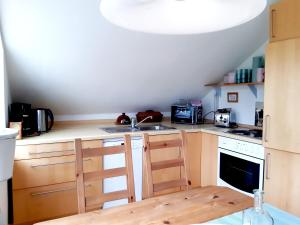 A kitchen or kitchenette at Ferienhof Radlandsichten