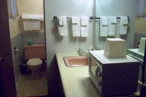 A bathroom at Hilander Motel