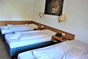 A bed or beds in a room at Hotel Alsterquelle