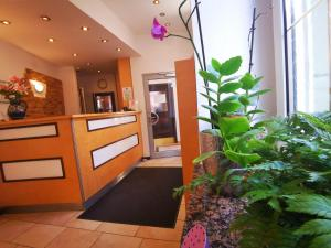The lobby or reception area at City Hostel