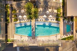 A view of the pool at Fairmont Austin or nearby