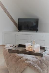 Een TV en/of entertainmentcenter bij Apartment De Maasnacht