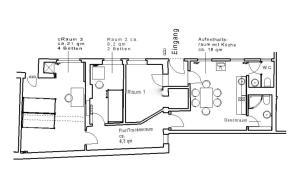 The floor plan of Herberge28 Ferienwohnung für bis zu 7 Personen