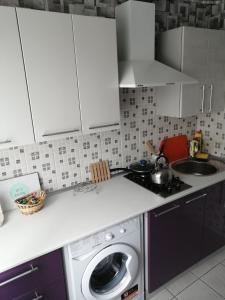 A kitchen or kitchenette at Apartment on Kosmonavtov Street 20