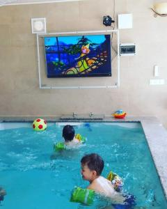 The swimming pool at or close to Manora pool house
