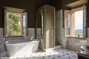 A bathroom at Castello di Casole, A Belmond Hotel, Tuscany