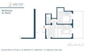 Planul etajului la PentHouse & Apartments By The Sea Near Airport