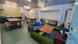 A seating area at Iruka Hostel