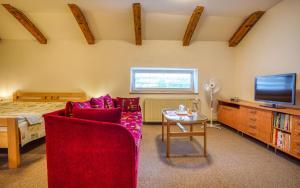 Televízia a/alebo spoločenská miestnosť v ubytovaní Hotel Dynamic