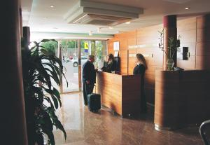 The lobby or reception area at Hotel Legazpi