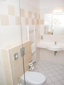 A bathroom at Hotel Kurdějov